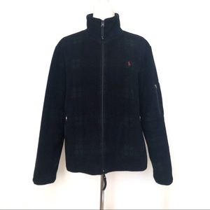 Ralph Lauren Sport Fleece Plaid Zip Jacket  LARGE